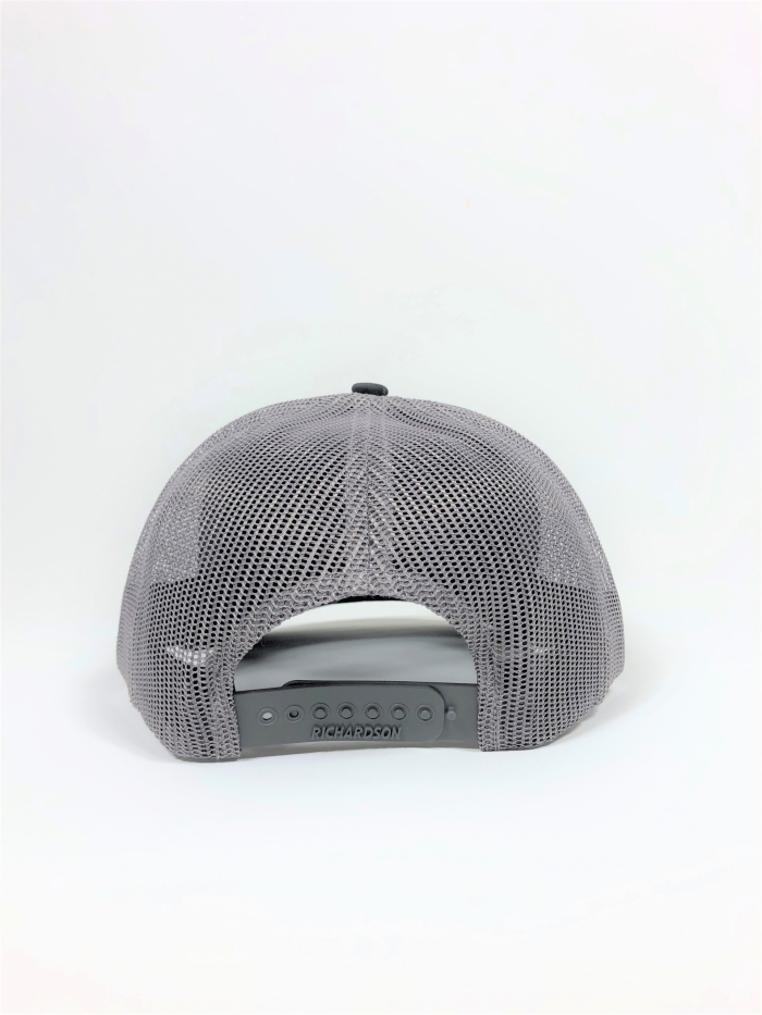 Back profile of charcoal and black trucker hat