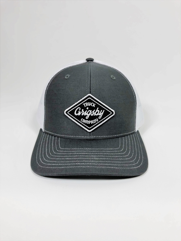 Front profile of charcoal and white trucker hat